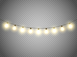 Christmas lights isolated on transparent background. Vector xmas glowing garland.