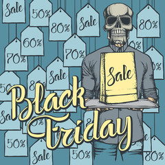 Vector illustration of skull on Black Friday