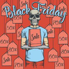 Vector illustration of skull on Black Friday