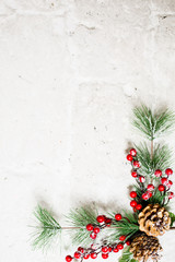 Christmas decoration on corner of white background