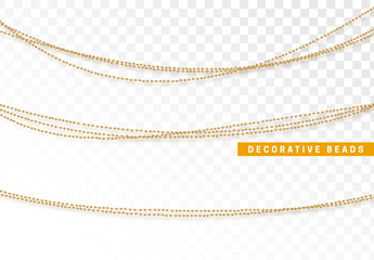 String beads realistic isolated. Decorative design element golden bead.