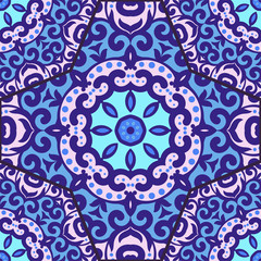 Vector seamless pattern with bright blue ornament. Tile in Eastern style. Ornamental lace tracery. Ornate swirl geometrical decor for wallpaper. Traditional arabic mosaic design