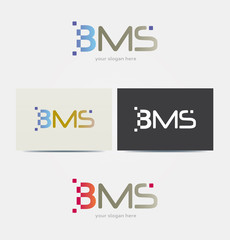 Logo Lettres BMS Multicolore Icone Carte de Visite et Charte Graphique Entreprise Plusieurs Couleurs