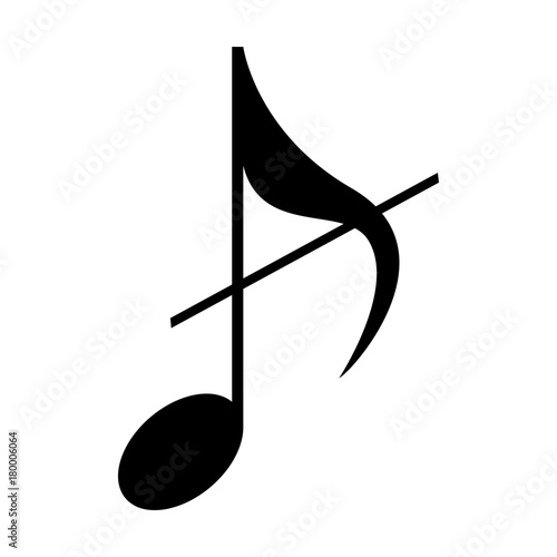 Isolated musical note, Eighth note, Vector illustration