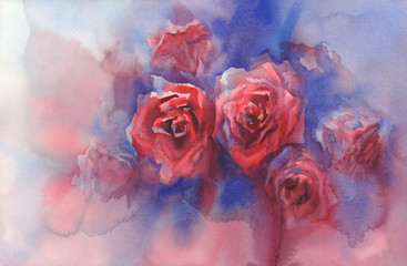 red roses in blue background watercolor