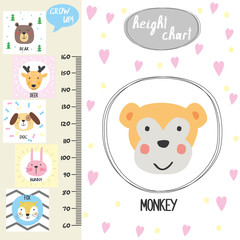 Kids height chart.Cute monkey and funny animals