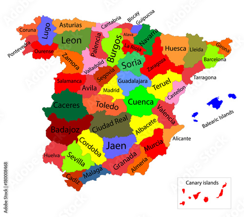 Map Of Spain Vector Free.Editable Colorful Vector Map Of Spain Vector Map Of Spain Isolated