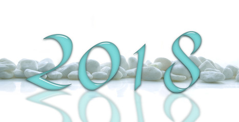 2018, glass numbers on a white stones line