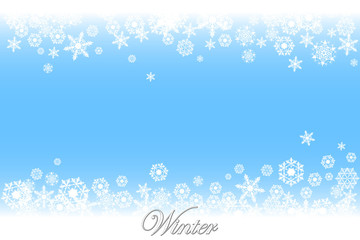 Simple but cute winter backgrount with various white snowflakes. EPS8 vector illustration.