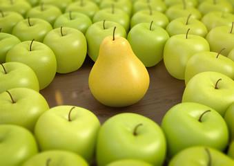 Wall Mural - eine gelbe Birne unter grünen Äpfel