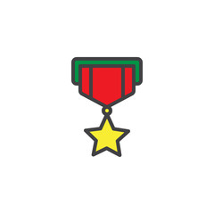 Military star reward medal filled outline icon, line vector sign, linear colorful pictogram isolated on white. Symbol, logo illustration. Pixel perfect vector graphics