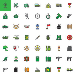 Military equipment filled outline icons set, line vector symbol collection, linear colorful pictogram pack isolated on white. Signs, logo illustration, web vector graphics