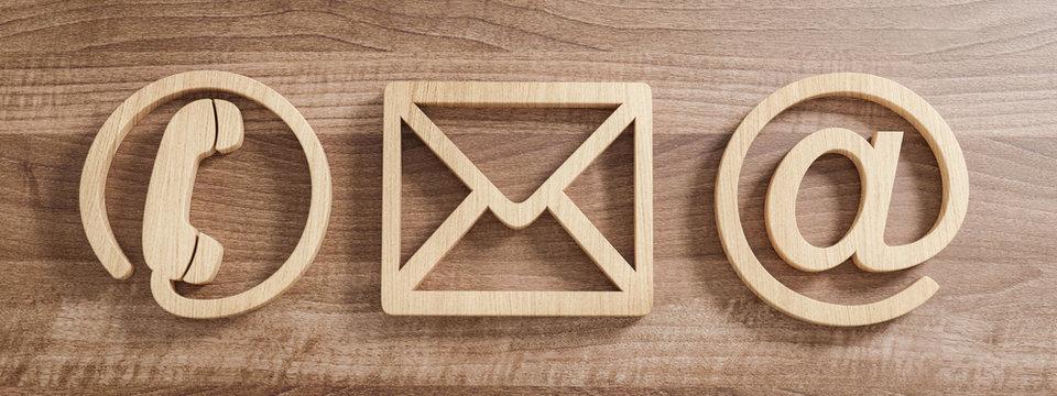 Kontakt Symbole aus Holz