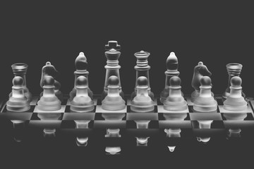 Full Set of Glass Chess Pieces Standing on a Reflective Glass Chessboard with Black Background