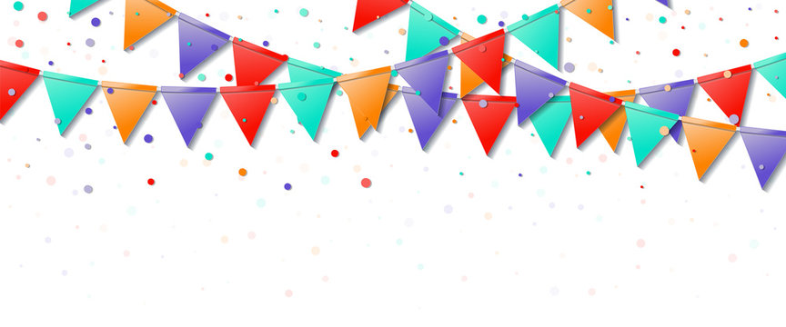 Bunting flags. Glamorous celebration card. Bright colorful holiday decorations and confetti. Bunting flags vector illustration.