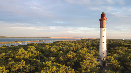 Bassin d'Arcachon, Cap Ferret lighthouse with Pyla dune in the background