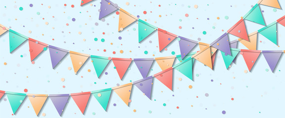 Bunting flags. Lively celebration card. Colorful holiday decorations and confetti. Bunting flags vector illustration.