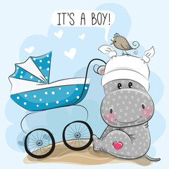 Its a boy with baby carriage and Hippo