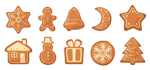 Vector Set of cartoon gingerbread christmas cookies.