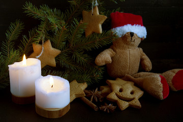 Christmas greeting card. Tree, candle, toy.