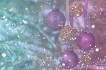 Gold purple Festive Christmas background. Christmas tree golden background. Christmas decoration.