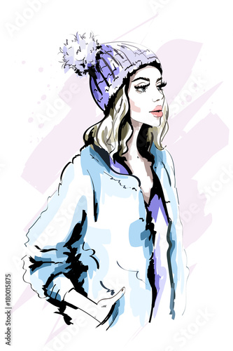 Beautiful Young Woman In Knitted Hat With Fur Pom Pom Hand Drawn Stylish Woman