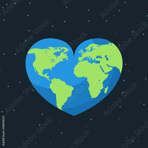 Earth map on heart. World day concept. Earth day. Love the ...