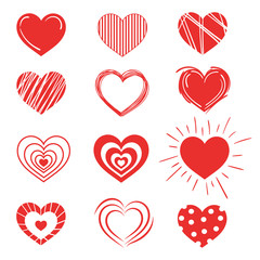 Set of red hearts. Collection of stylized hearts with patterns. Symbol of love. Vector illustration for Valentine s day.