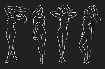 Set of female figures. Collection of outlines of young girls. Stylized slender body. Drawing on a chalkboard.