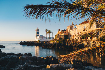 Morning in Cascais, Portugal with the famous Santa Marta Lighthouse and Museums visible