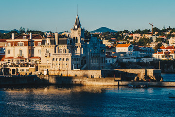 View of the beautiful town of Cascais, Portugal at sunset