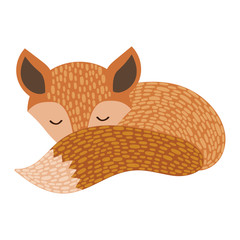 The sleeping fox. Cartoon fox on white background. Stylized forest animal. Illustration for children. Vector drawing for a postcard.