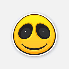 Vector illustration. Emoji smile face. Happy emoticon character. Icon for expression of feelings. Sticker in cartoon style with contour. Isolated on white background