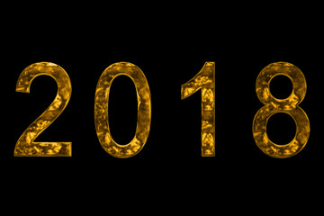 vintage yellow gold metallic 2018 word text with light reflex on black background with alpha channel, concept of golden luxury holiday happy new year event