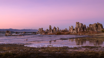 Tufa formations in Mono Lake at Sunset