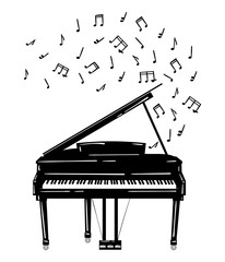 Vector illustration of a piano with notes. Keyboard musical instrument. Stylized grand piano issuing sound. Musical emblem. Black and white logo.