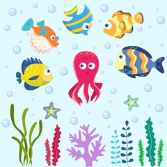 Sea life. Set with funny sea animals. Vector collection
