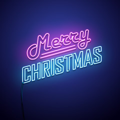 Christmas neon sign. Vector background.