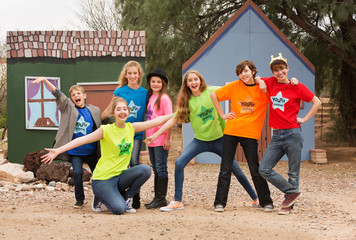 Friends at acting camp pose together