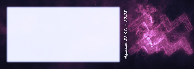 Aquarius Zodiac Sign. Aquarius Horoscope Sign. Template text room.
