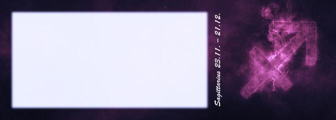 Sagittarius Zodiac Sign. Sagittarius Horoscope Sign. Template text room.