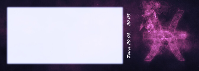 Pisces Zodiac Sign. Pisces Horoscope Sign. Template text room.