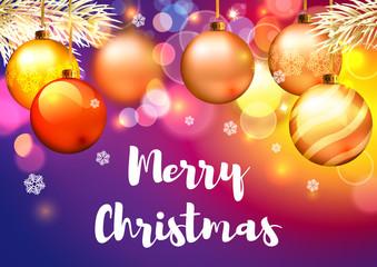 Christmas greeting card with balls.