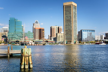 Baltimore Skyline under a Clear Blue Autumnal Sky