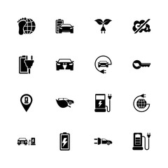 Electro Car icons - Expand to any size - Change to any colour. Flat Vector Icons - Black Illustration on White Background.