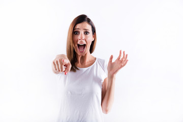 Screaming woman pointing