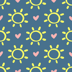 Hearts and suns drawn by hand. Cute seamless pattern. Sketch, doodle.