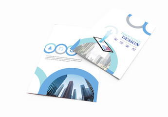 Bi-Fold Brochure Layout With Blue Accents 3