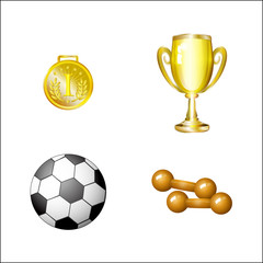 vector flat sport equipment set. Football or soccer ball ,dumbbells golden winner cup and first place medal trophy award objects . Isolated illustration on a white background