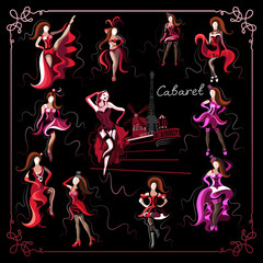Graphical illustration with the cabaret dancer_set